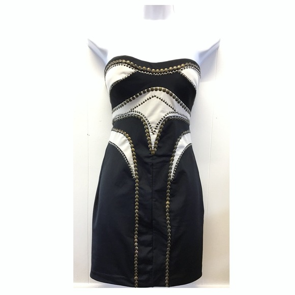 bebe Dresses & Skirts - bebe | Bronze Embellished Strapless Hot Mini Dress